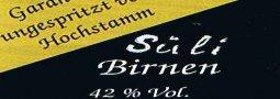 Etikett Birnbrand von der Sülibirne
