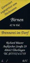 Etikett Birnenbrand vom Gelbmöstler - 0,5 l