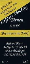 Etikett Birnbrand von Kieffers Sämling - 0,5 l
