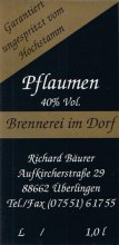 Etikett Pflaumenbrand - 1,0 L