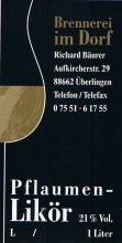 Etikett Pflaumen-Likör - 1,0 l